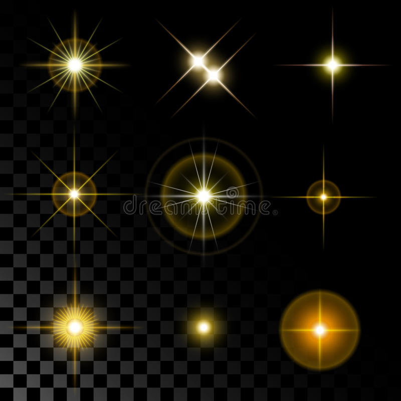 Sistema de estrellas hermosas del oro stock de ilustración
