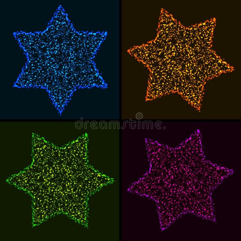 Sistema de estrellas hexagonales coloridas que brillan intensamente de la Navidad ilustración del vector