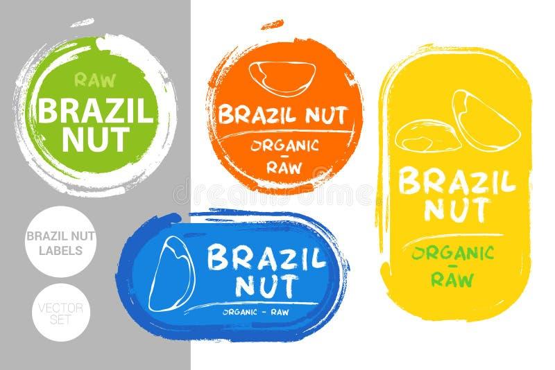 Sistema de etiqueta colorido de las nueces de Brasil Formas org?nicas crudas de la insignia de las nueces Etiquetas creativas de  libre illustration