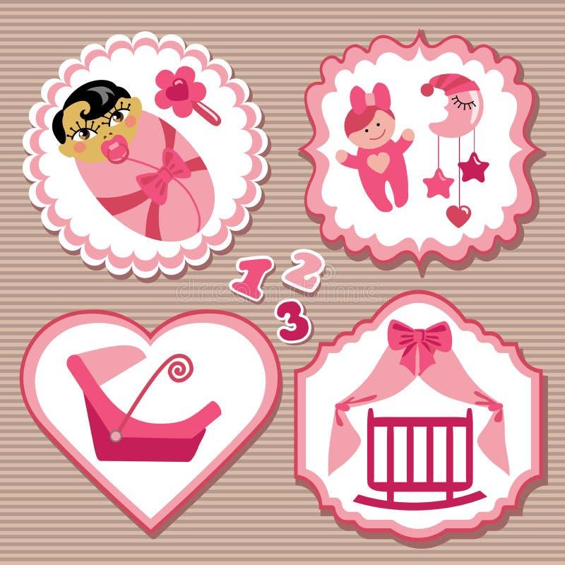Sistema de etiqueta con los elementos para el bebé recién nacido asiático libre illustration