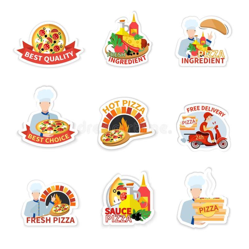 Sistema de etiqueta de la pizza ilustración del vector