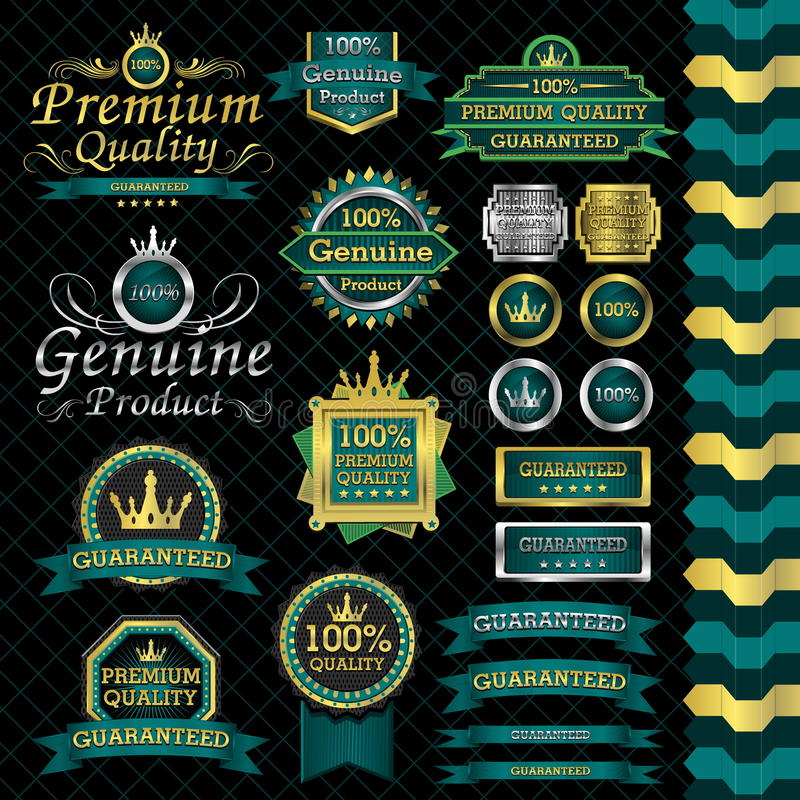Sistema de etiqueta de lujo stock de ilustración