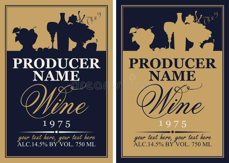 Sistema de etiqueta del vino con la silueta de una vida inmóvil stock de ilustración