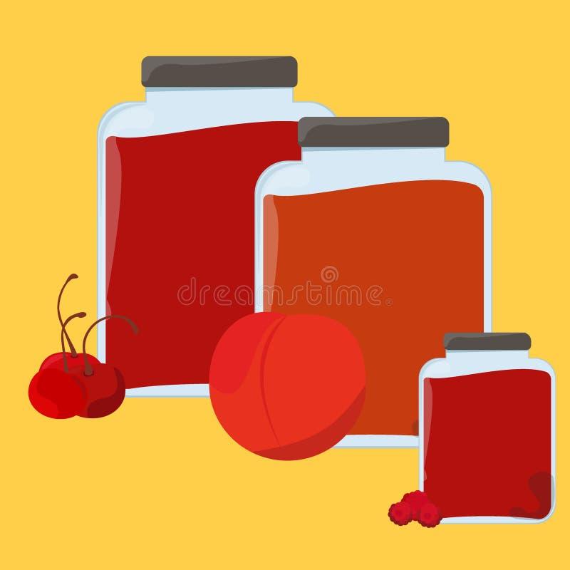 Sistema de etiqueta hecho en casa dulce y sano del papel de la mermelada de fresa ilustración del vector