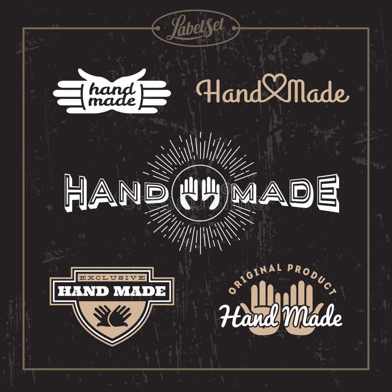 Sistema de etiqueta hecho a mano stock de ilustración
