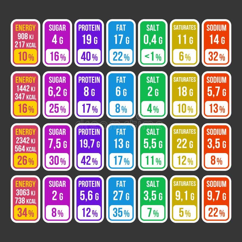 Sistema de etiqueta de la información de los hechos de la nutrición del color en fondo oscuro Vector stock de ilustración