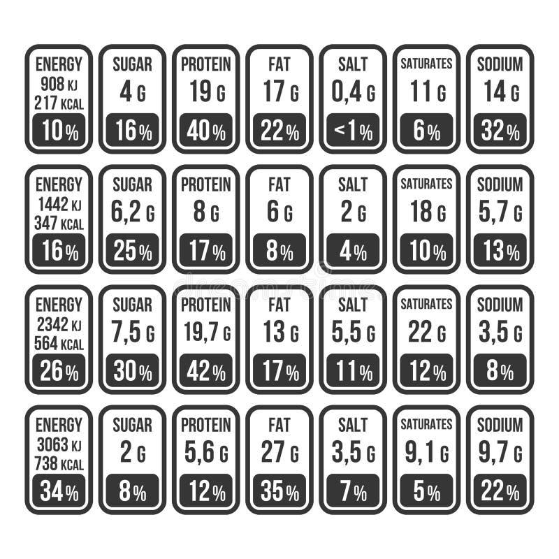 Sistema de etiqueta de la información de los hechos de la nutrición en el fondo blanco Vector libre illustration