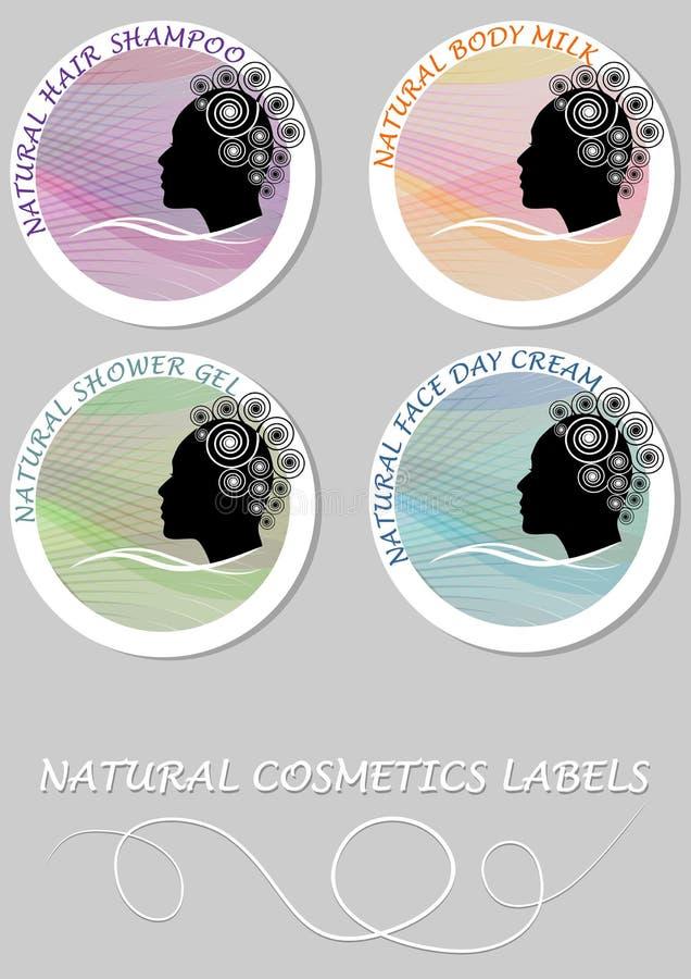 Sistema de etiqueta natural del producto de los cosméticos Etiqueta para el champú del pelo, leche del cuerpo, gel de la ducha, c stock de ilustración
