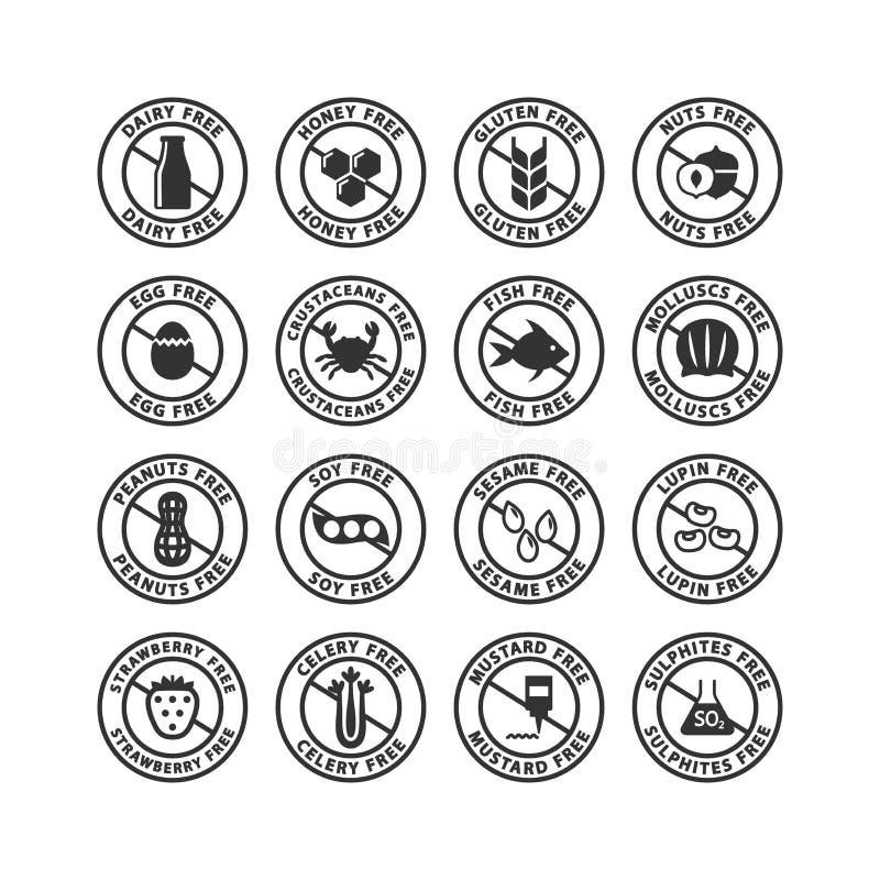 Sistema de etiqueta negro del sello de los alergénicos de los ingredientes alimentarios Etiquetas libres del vector de los alergé libre illustration