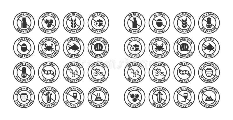 Sistema de etiqueta negro del sello de los alergénicos de los ingredientes alimentarios Alergénicos libres, ningunas etiquetas al libre illustration