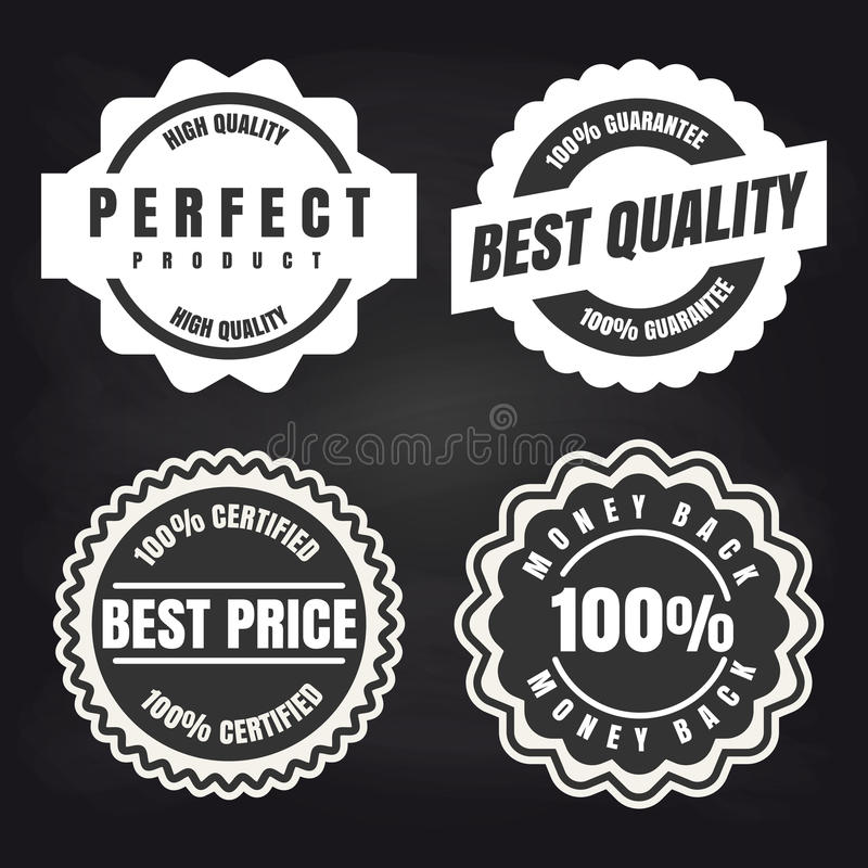 Sistema de etiquetas de alta calidad redondo de los productos stock de ilustración