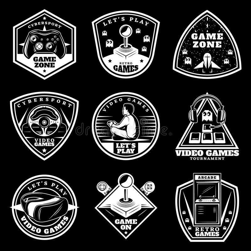 Sistema de etiquetas blanco de los videojuegos del vintage libre illustration