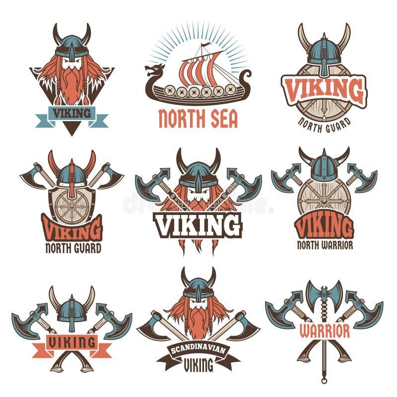 Sistema de etiquetas coloreado con los guerreros bárbaros medievales stock de ilustración