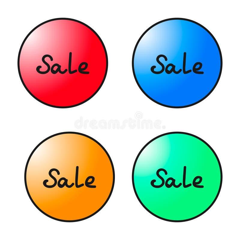 Sistema de etiquetas coloridas redondas de la venta Gráficos de vector ilustración del vector