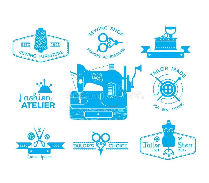 Sistema de etiquetas con la costura y la adaptación de símbolos libre illustration