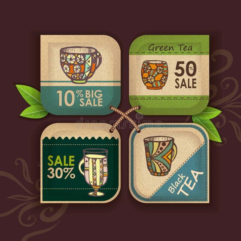 Sistema de etiquetas con la taza de café stock de ilustración