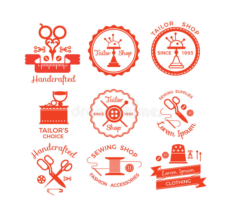 Sistema de etiquetas con símbolos de costura stock de ilustración