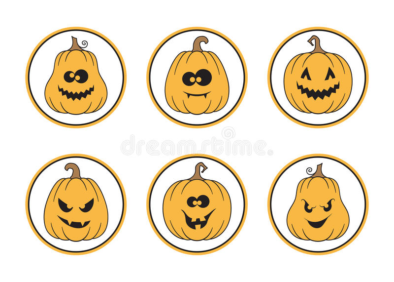 Sistema de etiquetas de Halloween stock de ilustración