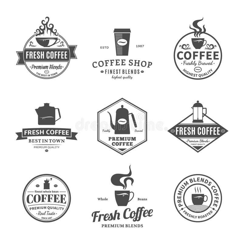 Sistema de etiquetas de la cafetería del vector, de iconos y de elementos del diseño libre illustration