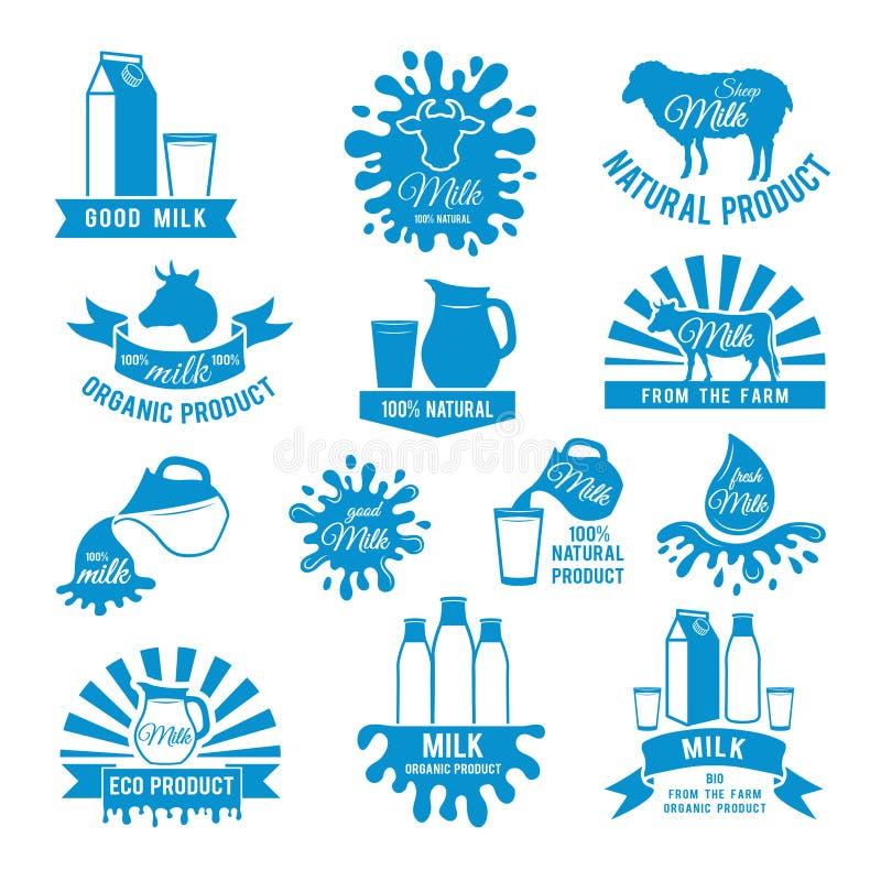 Sistema de etiquetas de la leche Los ejemplos del vector de diferente salpican Las imágenes para el logotipo diseñan con el lugar ilustración del vector