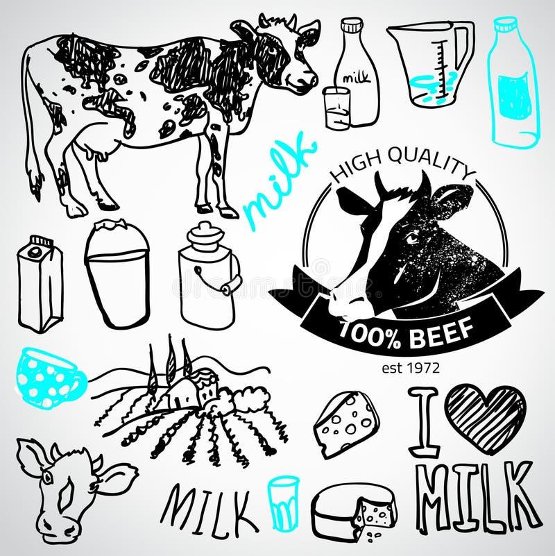 Sistema de etiquetas de la leche y de la lechería, stock de ilustración