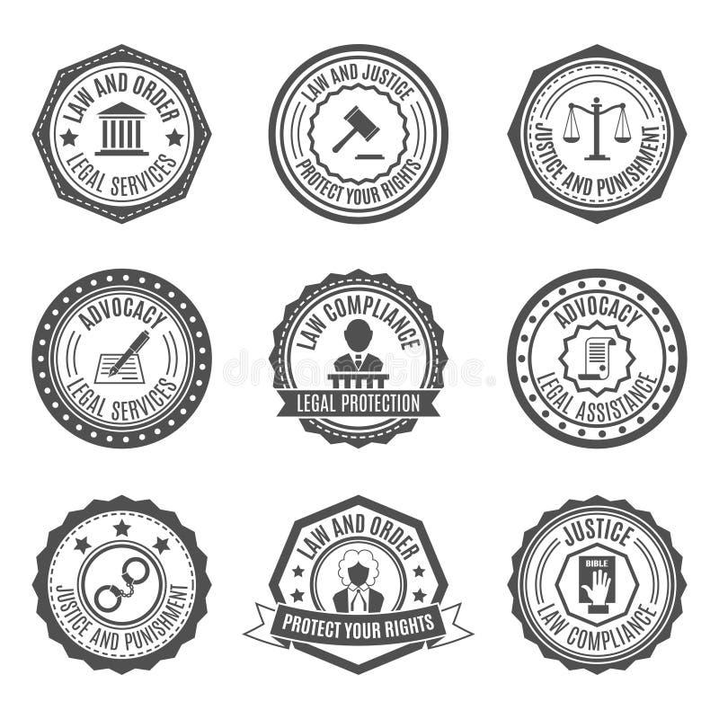 Sistema de etiquetas de la ley stock de ilustración
