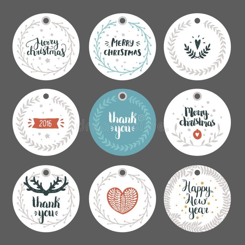 Sistema de etiquetas de la Navidad y del Año Nuevo stock de ilustración