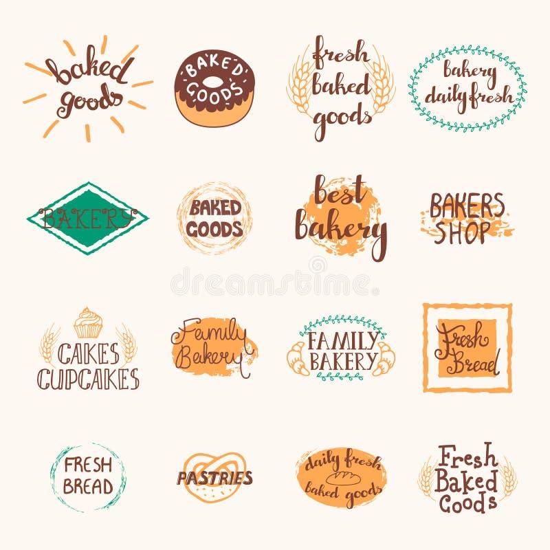 Sistema de etiquetas de la panadería stock de ilustración