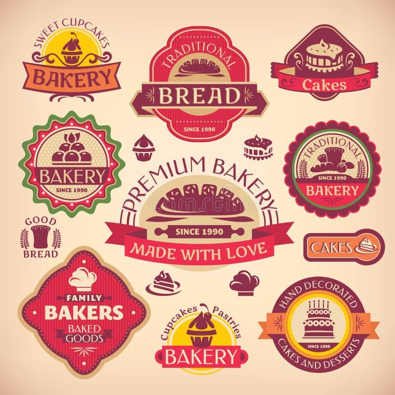 Sistema de etiquetas de la panadería del vintage ilustración del vector