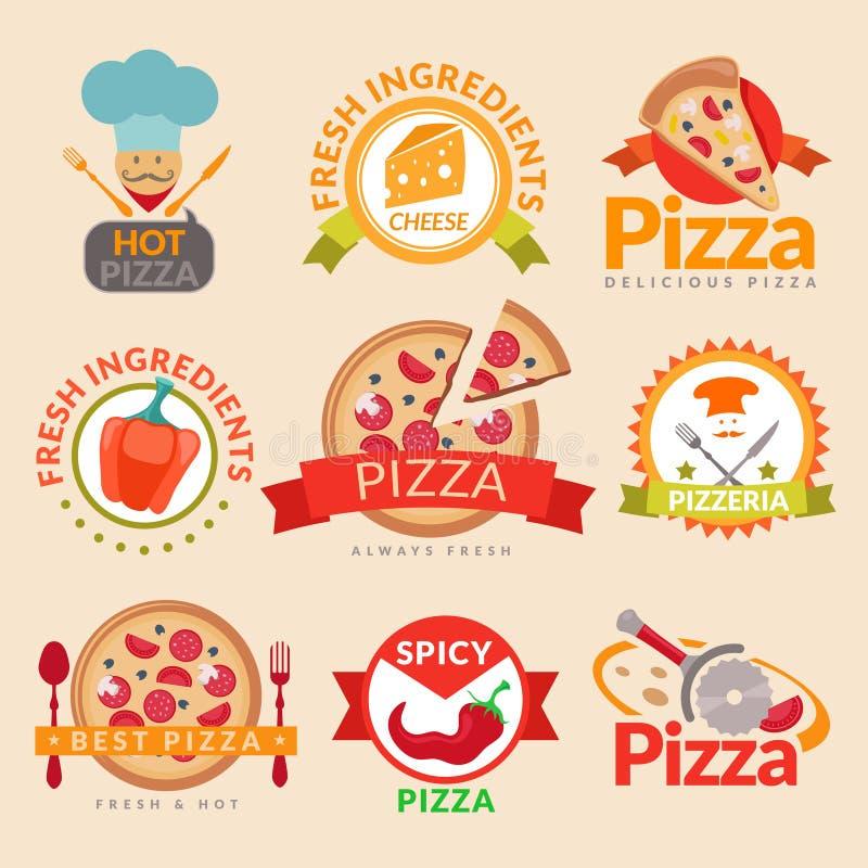 Sistema de etiquetas de la pizzería stock de ilustración