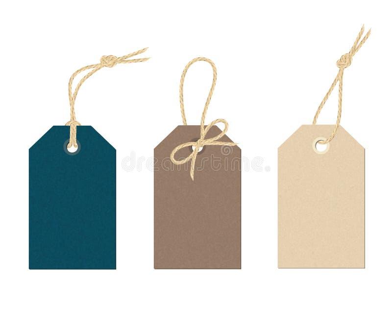 Sistema de etiquetas de la tarjeta del color con los nudos de lino de la secuencia fotos de archivo libres de regalías