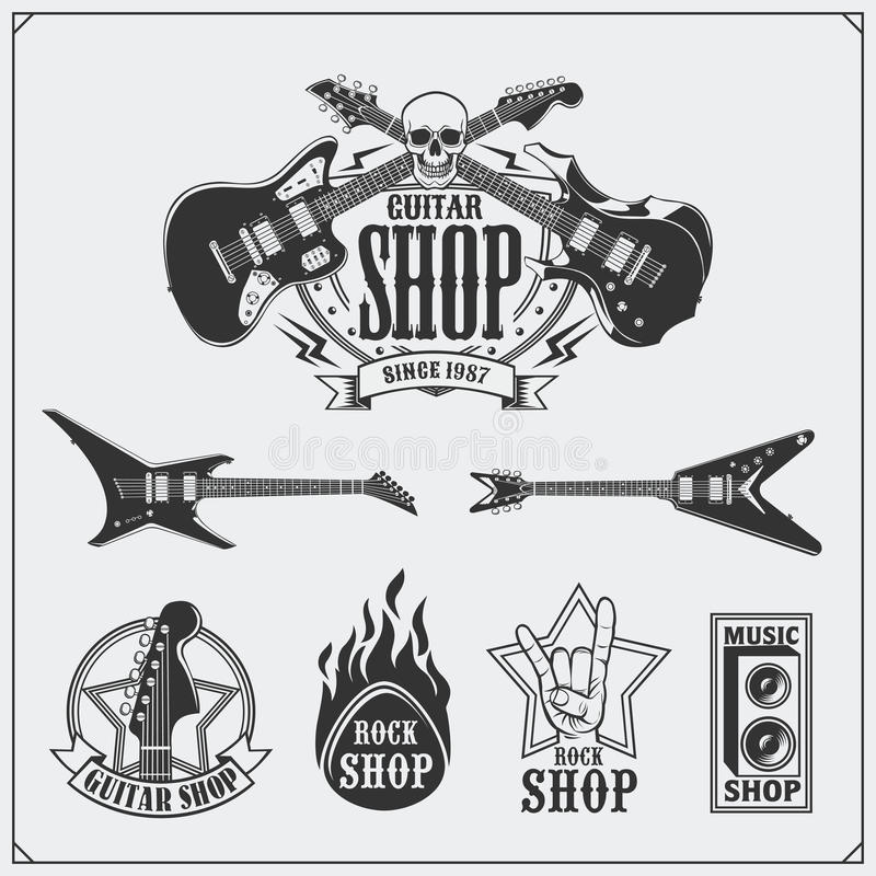 Sistema de etiquetas de la tienda de la guitarra, de emblemas, de insignias y de iconos de la música libre illustration