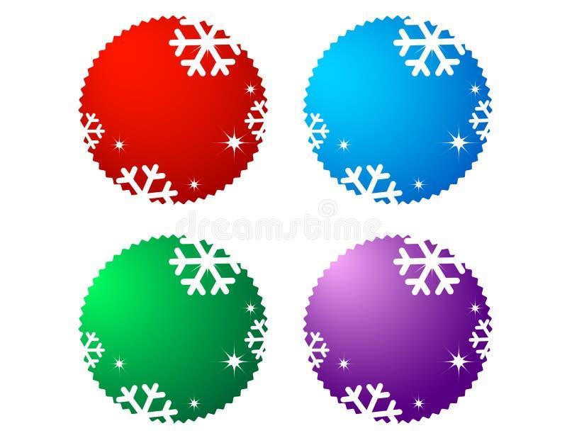 Sistema de etiquetas de la venta con el copo de nieve stock de ilustración