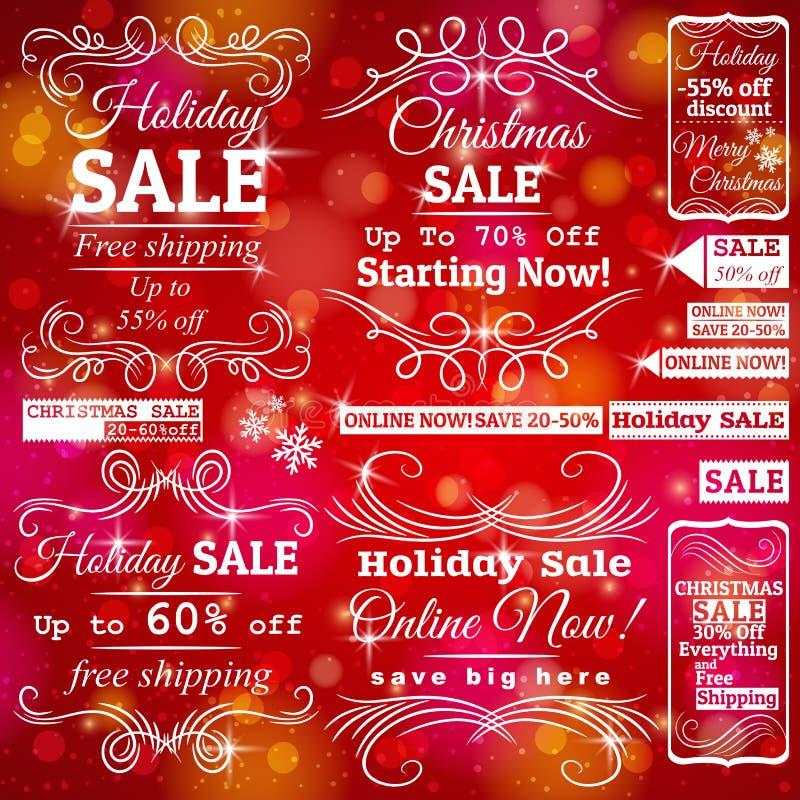 Sistema de etiquetas de la venta sobre fondo rojo de la Navidad stock de ilustración