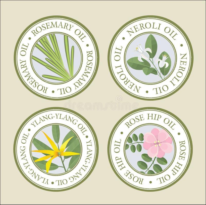 Sistema de etiquetas de los aceites esenciales stock de ilustración