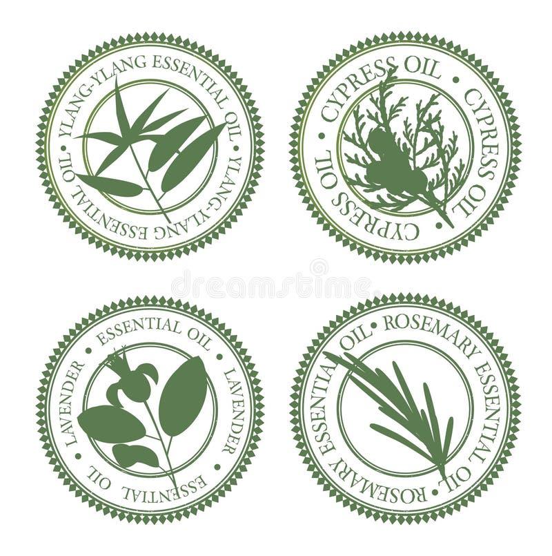 Sistema de etiquetas de los aceites esenciales libre illustration