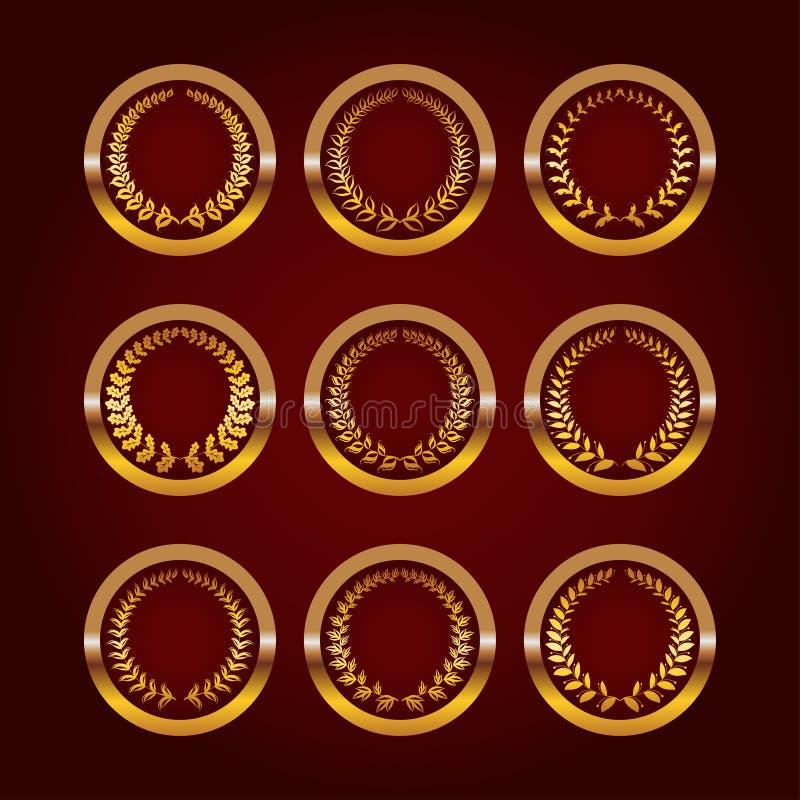 Sistema de etiquetas de lujo del oro libre illustration