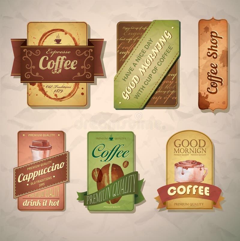 Sistema de etiquetas decorativas del café del vintage libre illustration