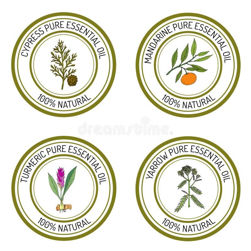 Sistema de etiquetas del aceite esencial ilustración del vector