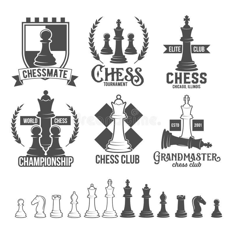 Sistema de etiquetas del ajedrez, de insignias y de elementos del diseño stock de ilustración