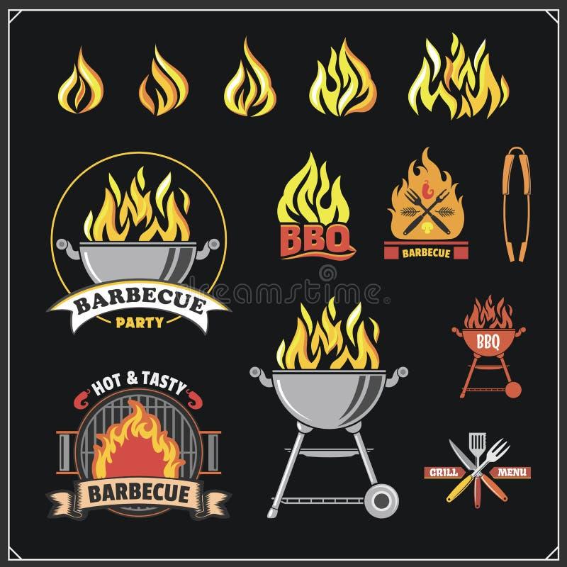 Sistema de etiquetas del Bbq y de la parrilla Emblemas de la barbacoa, insignias y elementos del diseño libre illustration