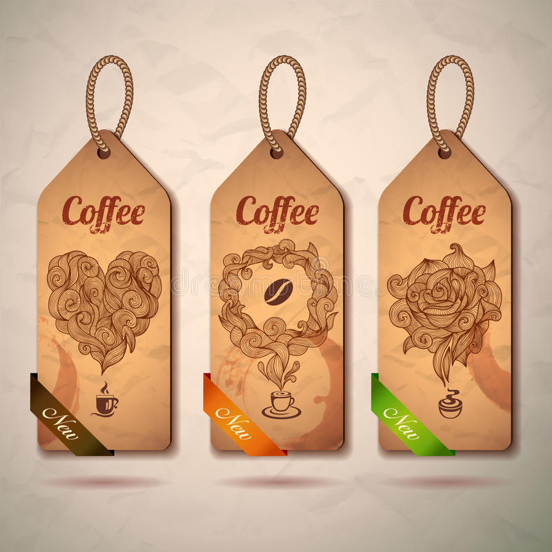Sistema de etiquetas del café del vintage libre illustration