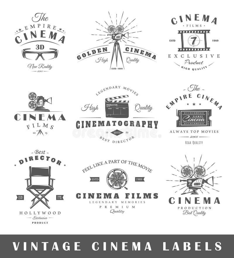 Sistema de etiquetas del cine del vintage libre illustration