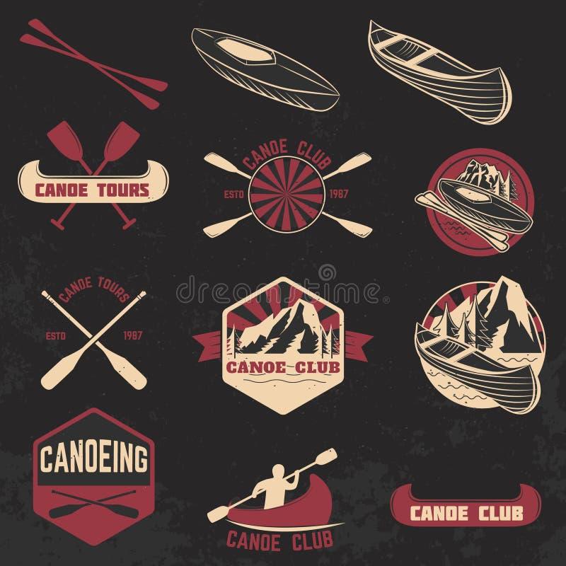 Sistema de etiquetas del club de la canoa, de insignias y de elementos del diseño ilustración del vector