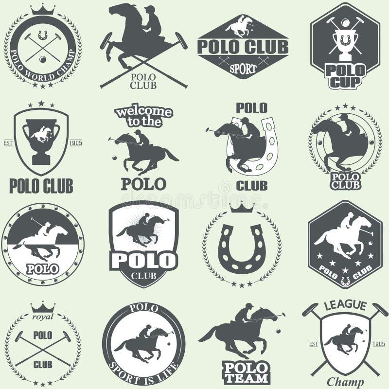 Sistema de etiquetas del club del polo del caballo del vintage stock de ilustración