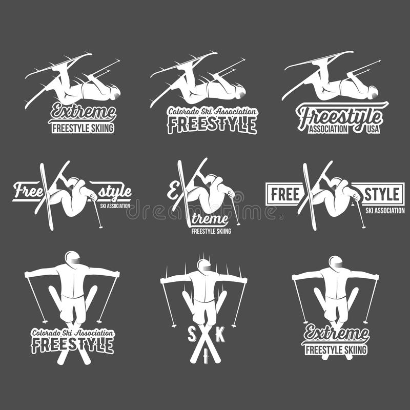 Sistema de etiquetas del esquí del vintage y de elementos del diseño stock de ilustración