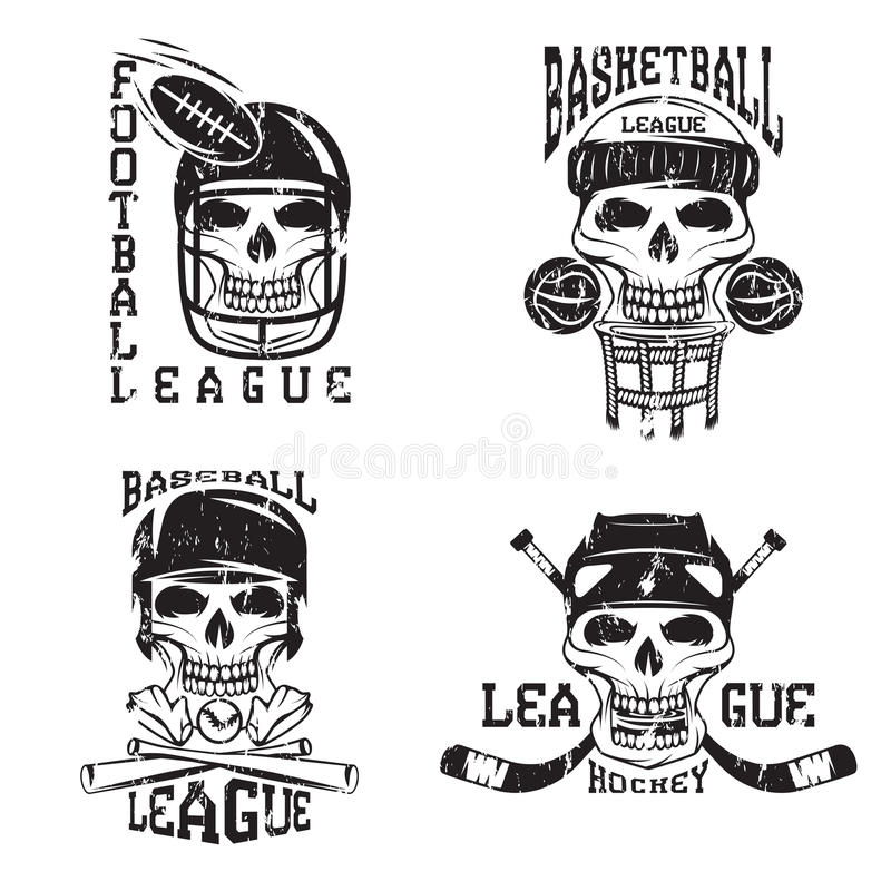 sistema de etiquetas del grunge del vector del deporte con los cráneos libre illustration