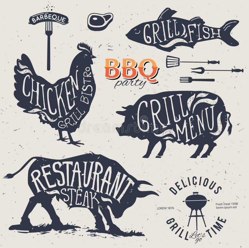 Sistema de etiquetas del menú de la parrilla del ejemplo en de estilo plano del diseño ilustración del vector