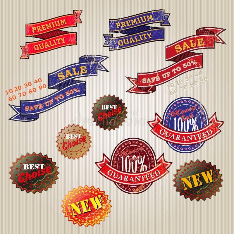 Sistema de etiquetas del negocio del vintage stock de ilustración