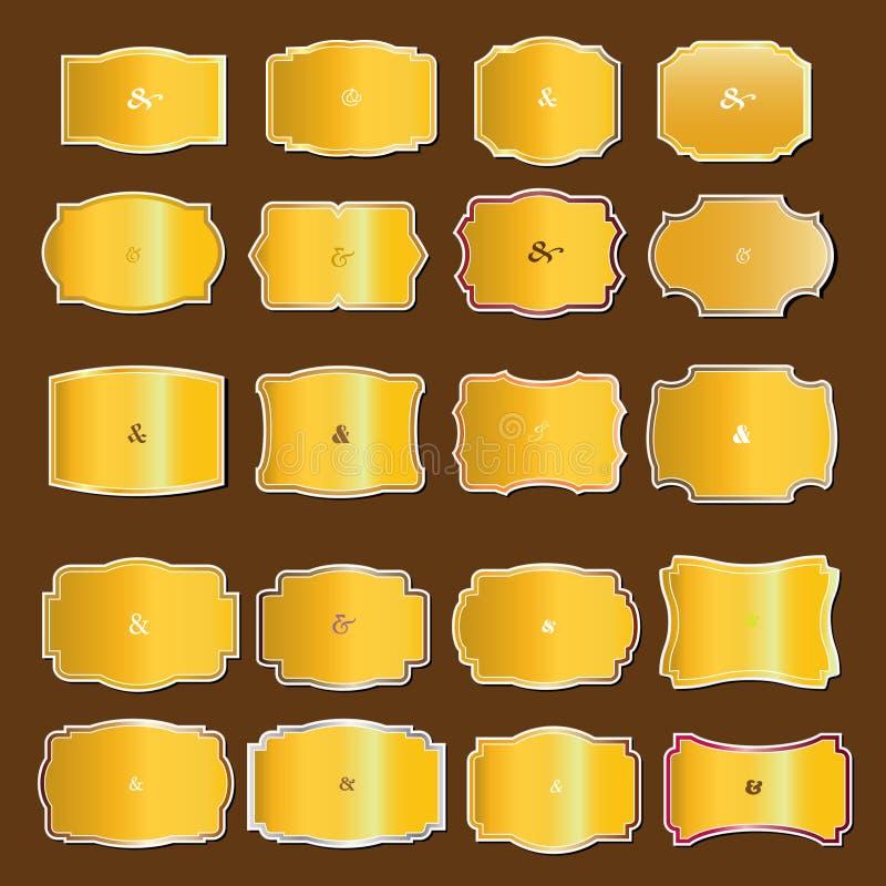Sistema de etiquetas del oro del vintage stock de ilustración